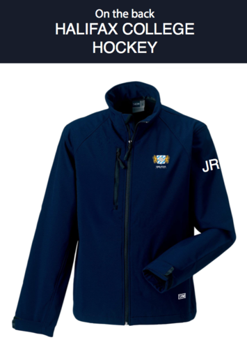 Halifax Hockey Navy Mens Softshell Jacket (Logo Embroidery, Everything Else Print)