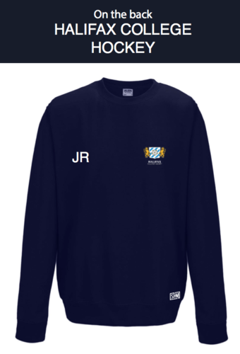 Halifax Hockey Navy Unisex Sweatshirt (Logo Embroidery, Everything Else Print)