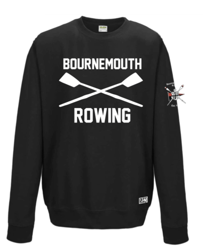 Bournemouth Rowing Black Unisex Sweatshirt (All Print Except Logo On Sleeve Embroidery)
