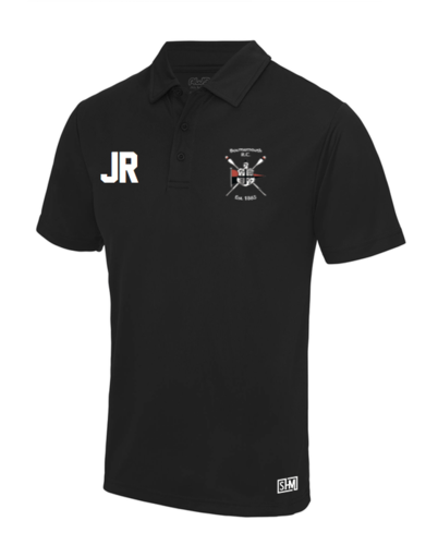 Bournemouth Rowing Black Mens Performance Polo (Logo Embroidery, Everything Else Print)