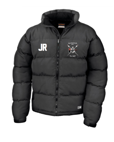 Bournemouth Rowing Black Mens Puffa (Logo Embroidery, Everything Else Print)
