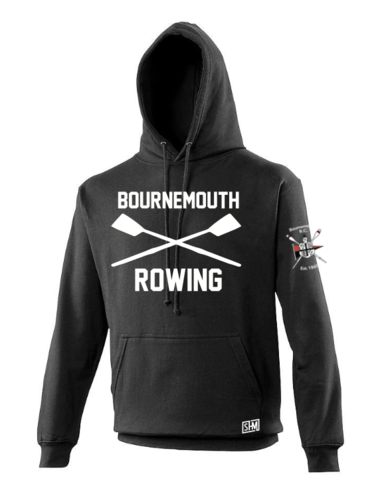 Bournemouth Rowing Black Mens Hoody (Logo Embroidery, Everything Else Print)