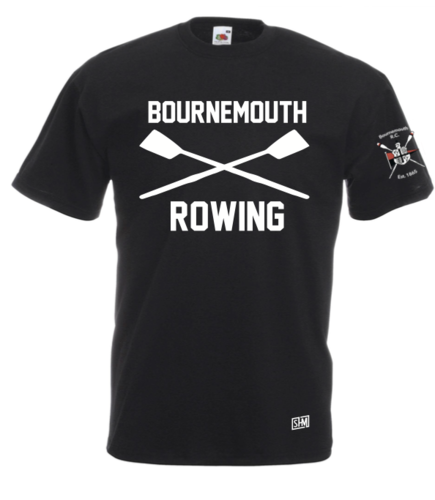 Bournemouth Rowing Black Mens Cotton Tee (All Print)