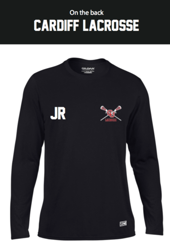 Cardiff University Lacrosse Black Womens Long Sleeved Performance Tee (All Print)