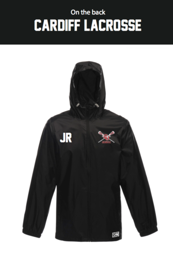 Cardiff University Lacrosse Black Unisex Windbreaker (Logo Embroidery, Everything Else Print)