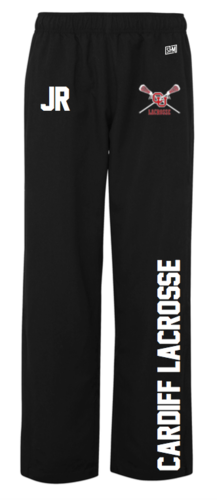 Cardiff University Lacrosse Mens Black Trackies (Logo Embroidery, Everything Else Print)