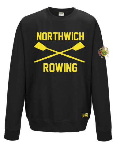 Northwich Rowing Black Unisex Sweatshirt (Logo Embroidery, Everything Else Print)