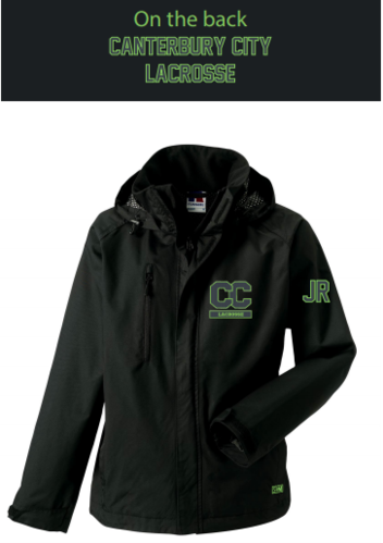 Canterbury Lacrosse Black Mens Hydroplus Hooded Jacket (Logo Embroidery, Everything Else Print)