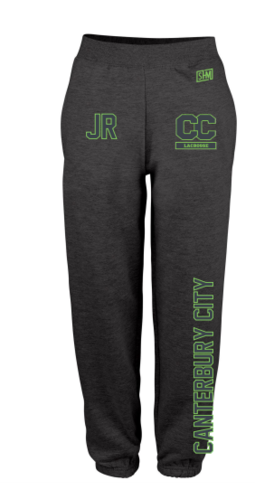 Canterbury Lacrosse Black Mens Sweatpants (Logo Embroidery, Everything Else Print)