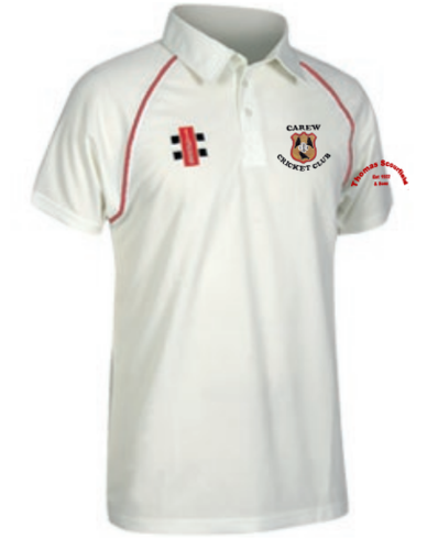 Carew Cricket Maxtrix Senior Red Trim Short Sleeve