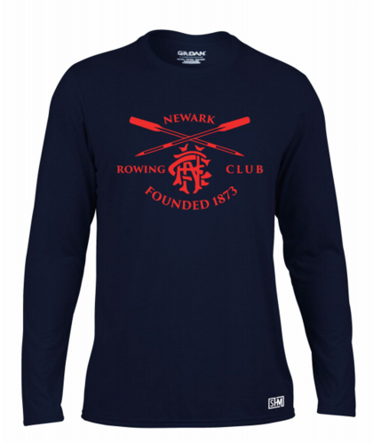 Newark Rowing Navy Mens Long Sleeved Performance Tee (All Print)