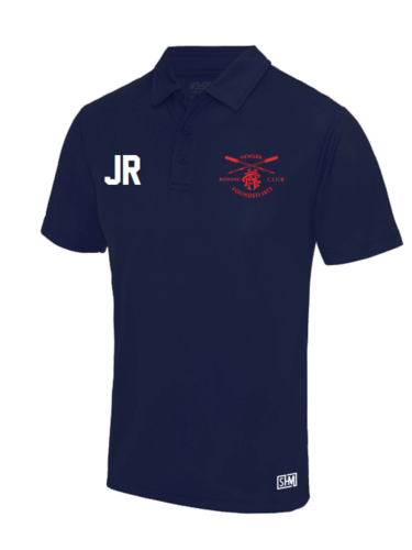 Newark Rowing Navy Mens Performance Polo (Logo Embroidery, Everything Else Print)