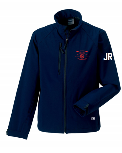 Newark Rowing Navy Mens Softshell Jacket (Logo Embroidery, Everything Else Print)