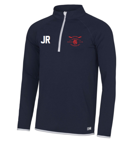 Newark Rowing Navy Womens Performance Sweatshirt (Logo Embroidery, Everything Else Print)