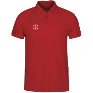 Carew Matrix Senior Red Polo Shirt With Club Logo And Sponsor On Sleeve