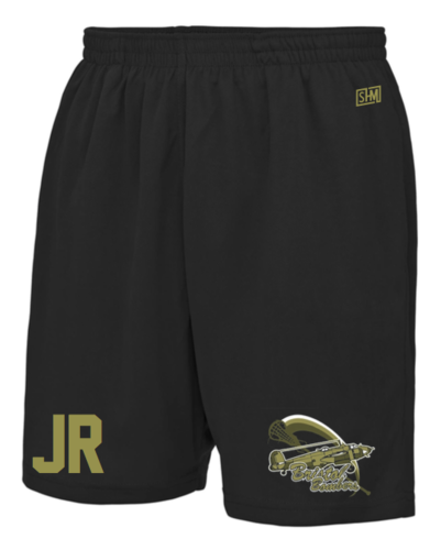 Bristol Bombers Black Mens Shorts (Logo Embroidery, Everything Else Print)