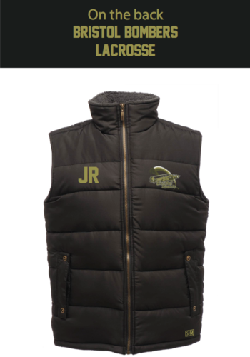 Bristol Bombers Black Unisex Gilet (Logo Embroidery, Everything Else Print)