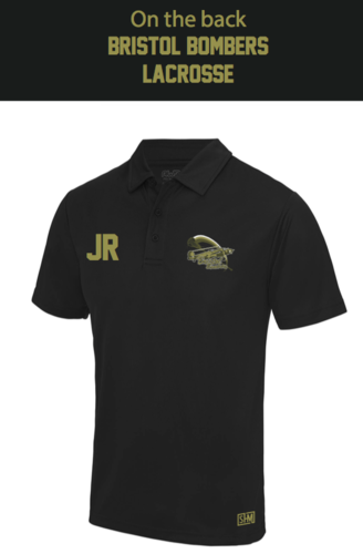 Bristol Bombers Black Mens Performance Polo (Logo Embroidery, Everything Else Print)