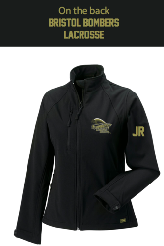 Bristol Bombers Black Womens Softshell Jacket (Logo Embroidery, Everthing Else Print)