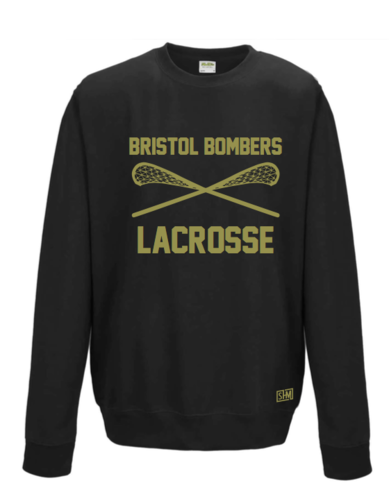 Bristol Bombers Black Unisex Crossed Sticks Sweatshirt (All Print)