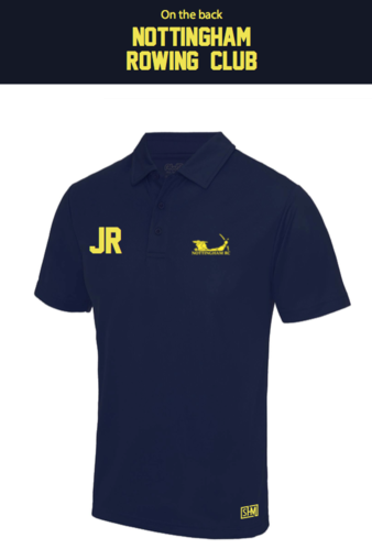 Nottingham Rowing Navy Mens Performance Polo (Logo Embroidery, Everything Else Print)
