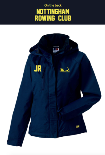 Nottingham Rowing Womens Navy Hydroplus Hooded Jacket (Logo Embroidery, Everything Else Print)