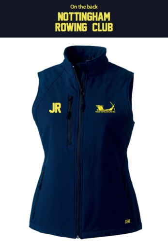 Nottingham Rowing Womens Navy Softshell Gilet (Logo Embroidery, Everything Else Print)