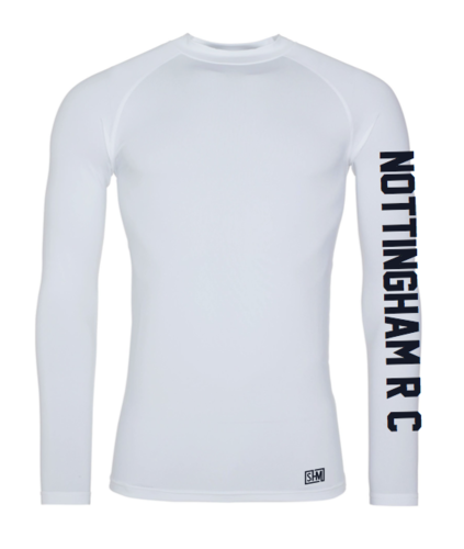 Nottingham Rowing Mens White Baselayer, Text In Navy (All Print)