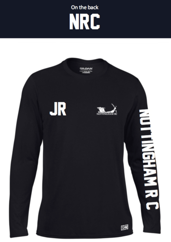 Nottingham Rowing Black Womens Long Sleeved Performance Tee (All Print)