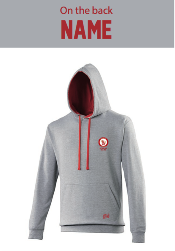 Rutherford Halls Unisex Heather Grey/Fire Red Hoody (Logo Embroidery, Everything Else Print)
