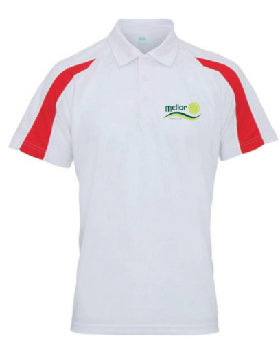 Mellor Tennis White & Red Junior Unisex Playing Shirt (Logo Embroidery)
