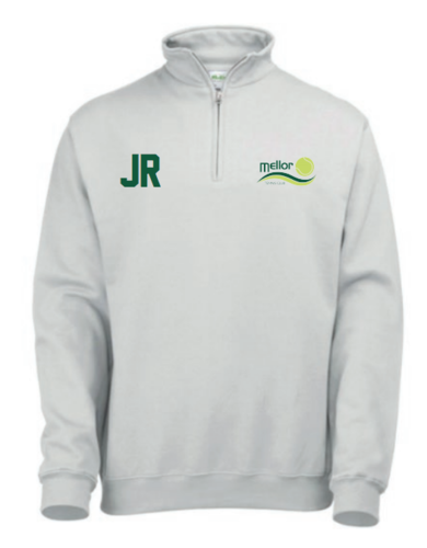 Mellor Tennis White 1/4 Senior Sweatshirt (Logo & Initials Embroidery)