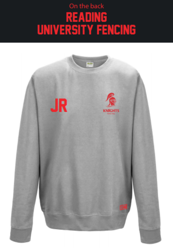 Reading University Fencing Unisex Heather Grey Sweatshirt (Logo Embroidery, Everything Else Print)