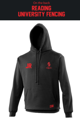 Reading University Fencing Black Mens Hoody (Logo Embroidery, Everything Else Print)