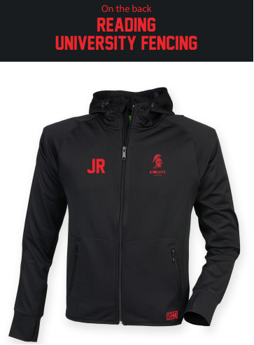 Reading University Fencing Red Unisex Fitness Hoody (Logo Embroidery, Everything Else Print)