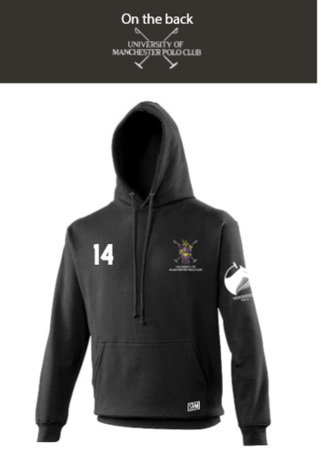 Manchester Polo Black Unisex Hoody (Everything Embroidery Except Logo To Back Print)