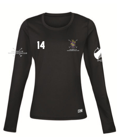Manchester Polo Black Womens Baselayer (All Print)