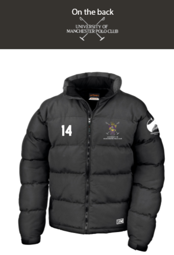 Manchester Polo Black Unisex Puffa (Everything Embroidery Except Logo To Back Print)