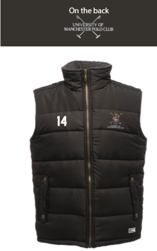 Manchester Polo Black Unisex Gilet (Everything Embroidery Except Logo To Back Print)