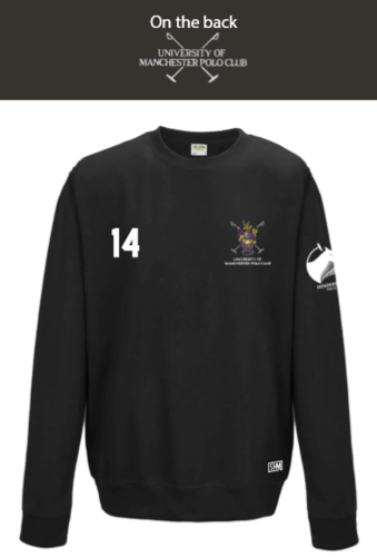 Manchester Polo Black Unisex Sweatshirt (Everything Embroidery Except Logo To Back Print)