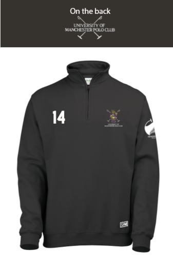 Manchester Polo Black Unisex 1/4 Zip Sweatshirt (Everything Embroidery Except Logo To Back Print)