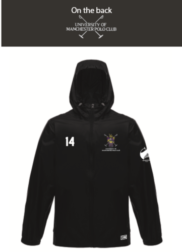 Manchester Polo Black Unisex Windbreaker (Everything Embroidery Except Text To Back Print)
