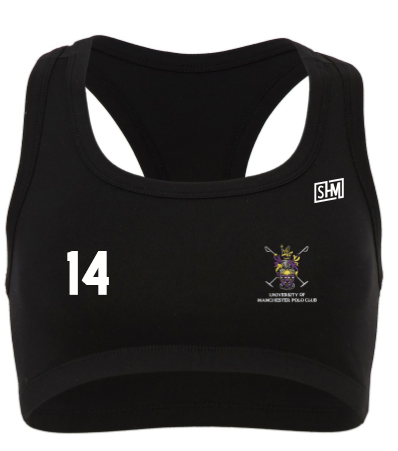 Manchester Polo Black Womens Sports Bra (All Print)