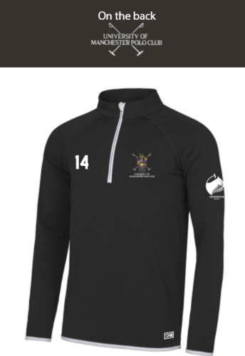 Manchester Polo Black Mens Performance Sweatshirt (Everything Embroidery Except Logo To Back Print)
