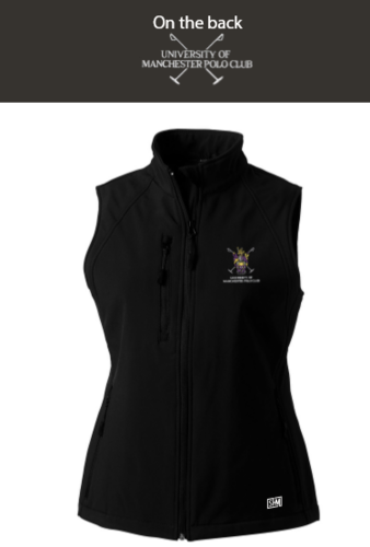 Manchester Polo Black Womens Softshell Gilet (Everything Embroidery Except Text To Back)