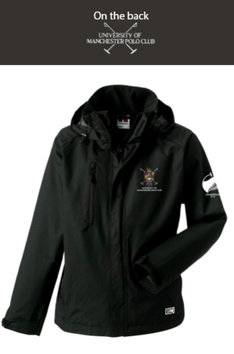 Manchester Polo Black Mens Hydroplus Hooded Jacket (Everything Embroidery Except Logo To Back Print)