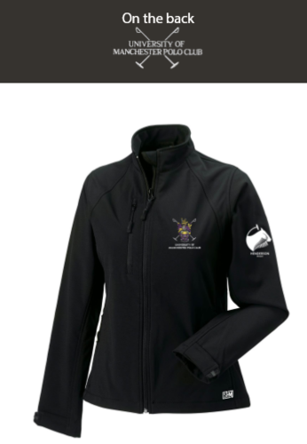 Manchester Polo Black Womens Softshell Jacket (Everything Embroidery Except Logo To Back Print)