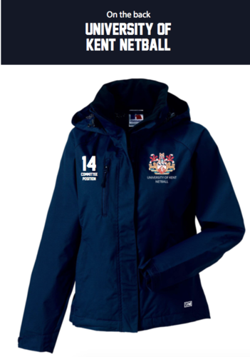 Kent Netball Navy Womens Hydroplus Jacket (Logo Embroidery, Everything Else Print)