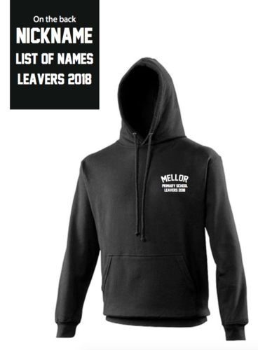 Mellor Primary School Black Senior Leavers Hoody (Small Logo Embroidery, Back Print)