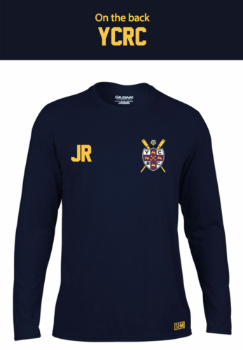 York City Rowing Navy Mens Long Sleeved Performance Tee (All Print)
